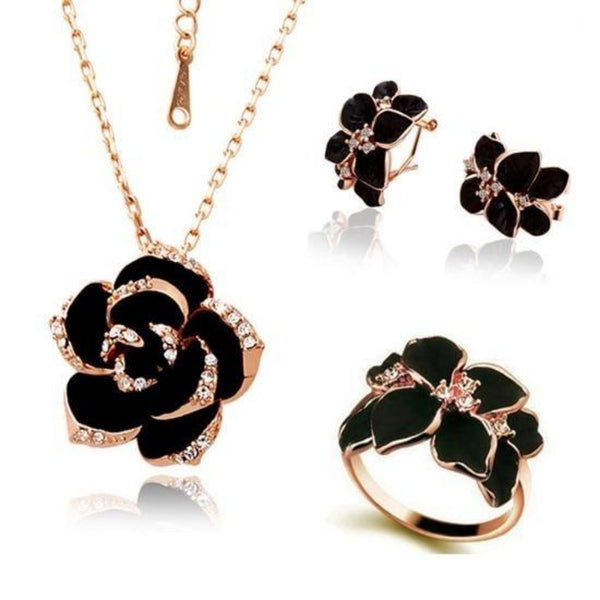 Women's Black Rose Jewelry Set-Jewelry Sets-gold black 3 18mm-Product Details: Wome's Rose Flower Enamel Jewelry Set Dimension: Pendant Length: 2.5 cm Pendant Width: 2.5 cm Earring Length: 2.1 cm Earring Width: 1.6 cm Ring Size: 18 mm-Keyomi-Sook