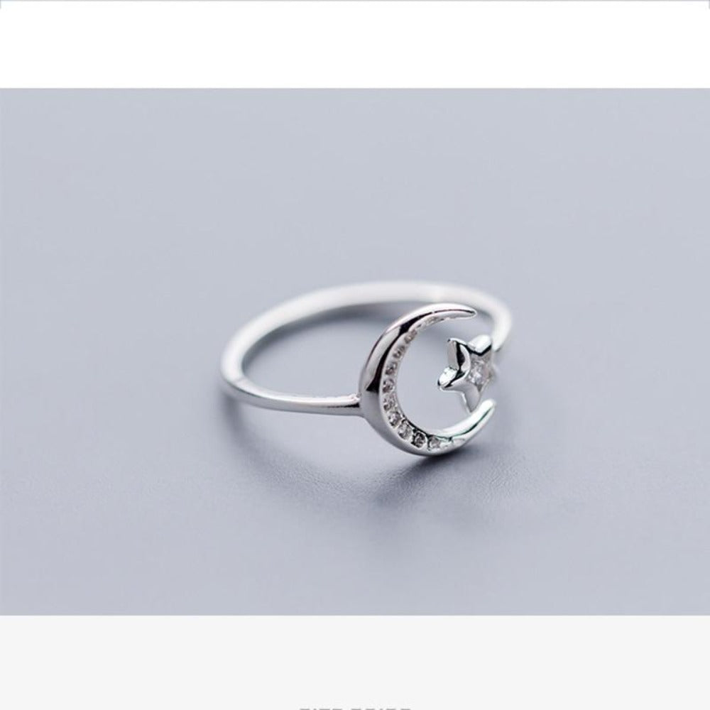 Women'S Moon Star Opening Ring-Ladies Rings-Product Details: Women's Moon Star Minimalist Zircon Opening Ring-Keyomi-Sook