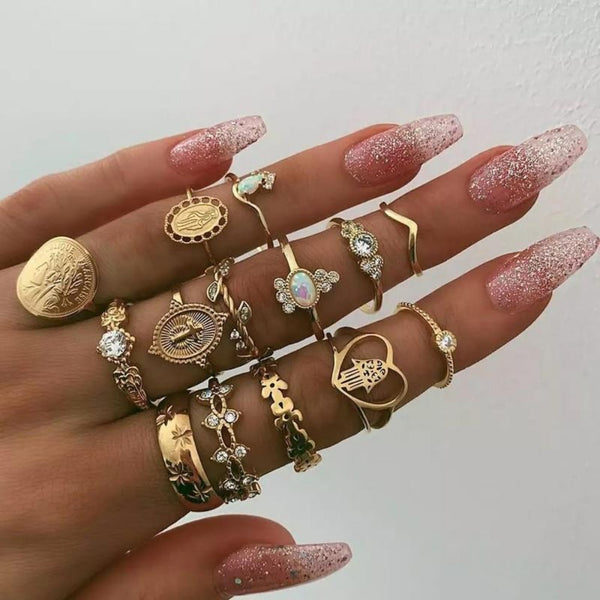 Women's 15 Piece Gold Ring Set-Ladies Rings-7056-Product Details: Women's 15 Piece Gold Boho Knuckle Ring Set Metals Type: Zinc Alloy Material: Metal Style: Bohemian Rings Type: Wedding Bands Shape Pattern: Water Drop Surface Width: 5 mm Compatibility: All Compatible Weight: 30 g Dimensions:-Keyomi-Sook
