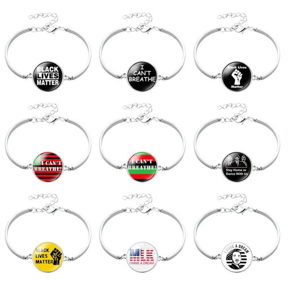 Men & Women's Black Lives Matter Charm Bracelet-Ladies Bracelets-Product Details: Men & Women's Black Lives Matter Silver Charm Bangled Bracelet Dimensions:-Keyomi-Sook