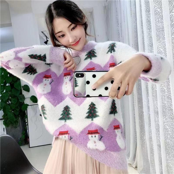 Women's Oversized Knitted Christmas Sweater-Sweaters & Sweatshirts-Product Details: Women's Autumn Oversized Knitted Casual Pullover Christmas Sweater Size Chart:-Keyomi-Sook
