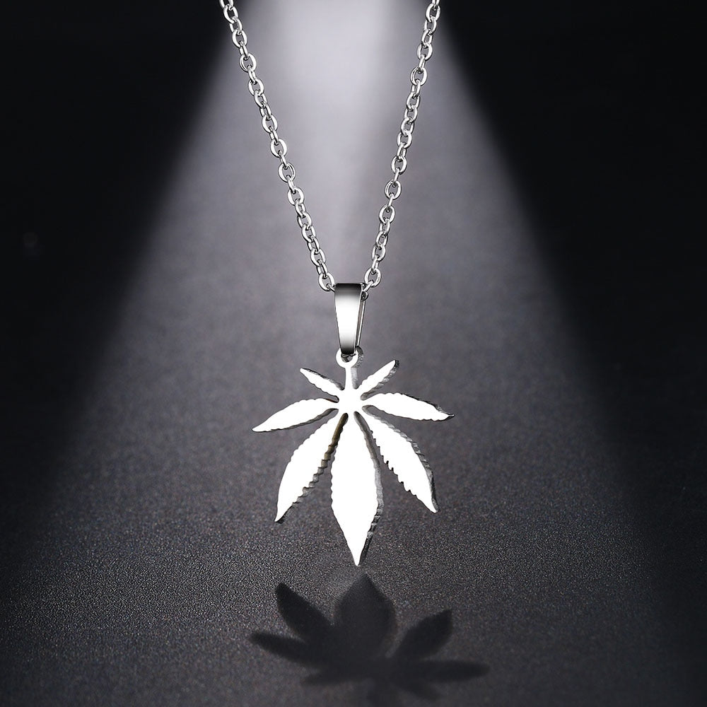 Men & Women's Maple Leaf Choker Pendant Necklace-Ladies Necklaces-Silver-45cm-Product Details: Men & Women's Stainless Steel Maple Leaf Choker Pendant Necklace Material: Stainless Steel Dimensions:-Keyomi-Sook
