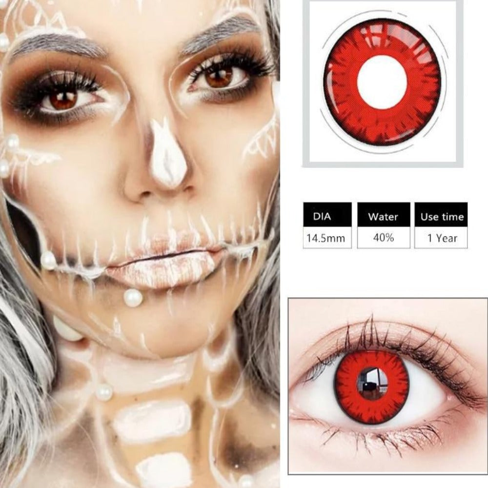 Cosplay Colored Halloween Contact Lens-Holidays-Color 9-Product Details: Cosplay Colored Halloween Cosmetic Contact Lens Expiration Time: 1 Year Ingredients: Hema, Saline Water Content: 40% Package Included: 1 Pair Contact Lens (2pcs) Diameter: 14.5 mm-Keyomi-Sook