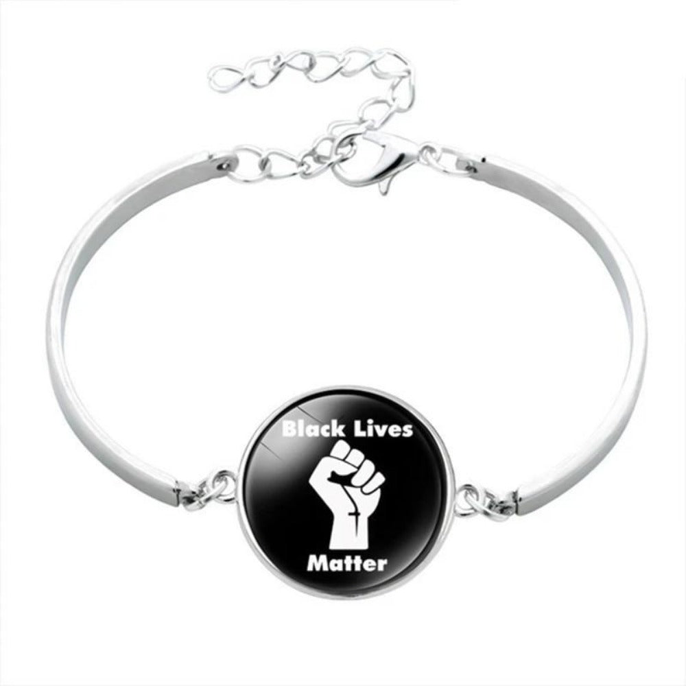 Men & Women's Black Lives Matter Charm Bracelet-Ladies Bracelets-BL5877H03-Product Details: Men & Women's Black Lives Matter Silver Charm Bangled Bracelet Dimensions:-Keyomi-Sook