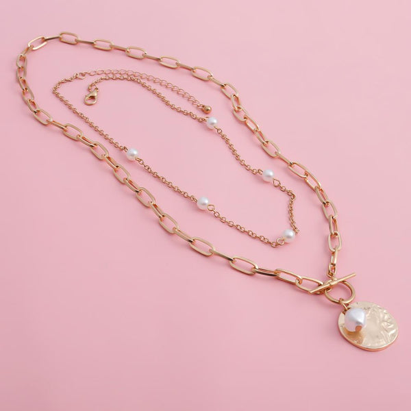 Women'S Baroque Pearl Coin Pendant Choker Necklace-Ladies Necklaces-Product Details: Women's Baroque Pearl Coin Pendant Choker Long Chain Necklace Dimensions:-Keyomi-Sook