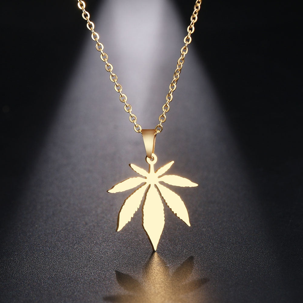 Men & Women's Maple Leaf Choker Pendant Necklace-Ladies Necklaces-Gold-color-45cm-Product Details: Men & Women's Stainless Steel Maple Leaf Choker Pendant Necklace Material: Stainless Steel Dimensions:-Keyomi-Sook