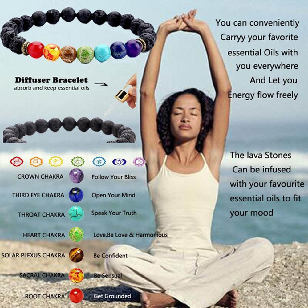 Men & Women's 7 Chakra Essential Oil Diffuser Bracelet-Ladies Bracelets-Product Details: Men & Women's 7 Chakra Beaded Lava Stone Essential Oil Diffuser Bracelet Material: Natural Lava Stone Beads Season: all the year Style: Fashion Color: As Picture Package Include: 1 Pcs x Bracelet, Packing: Opp Bag Dimensions:-Keyomi-Sook