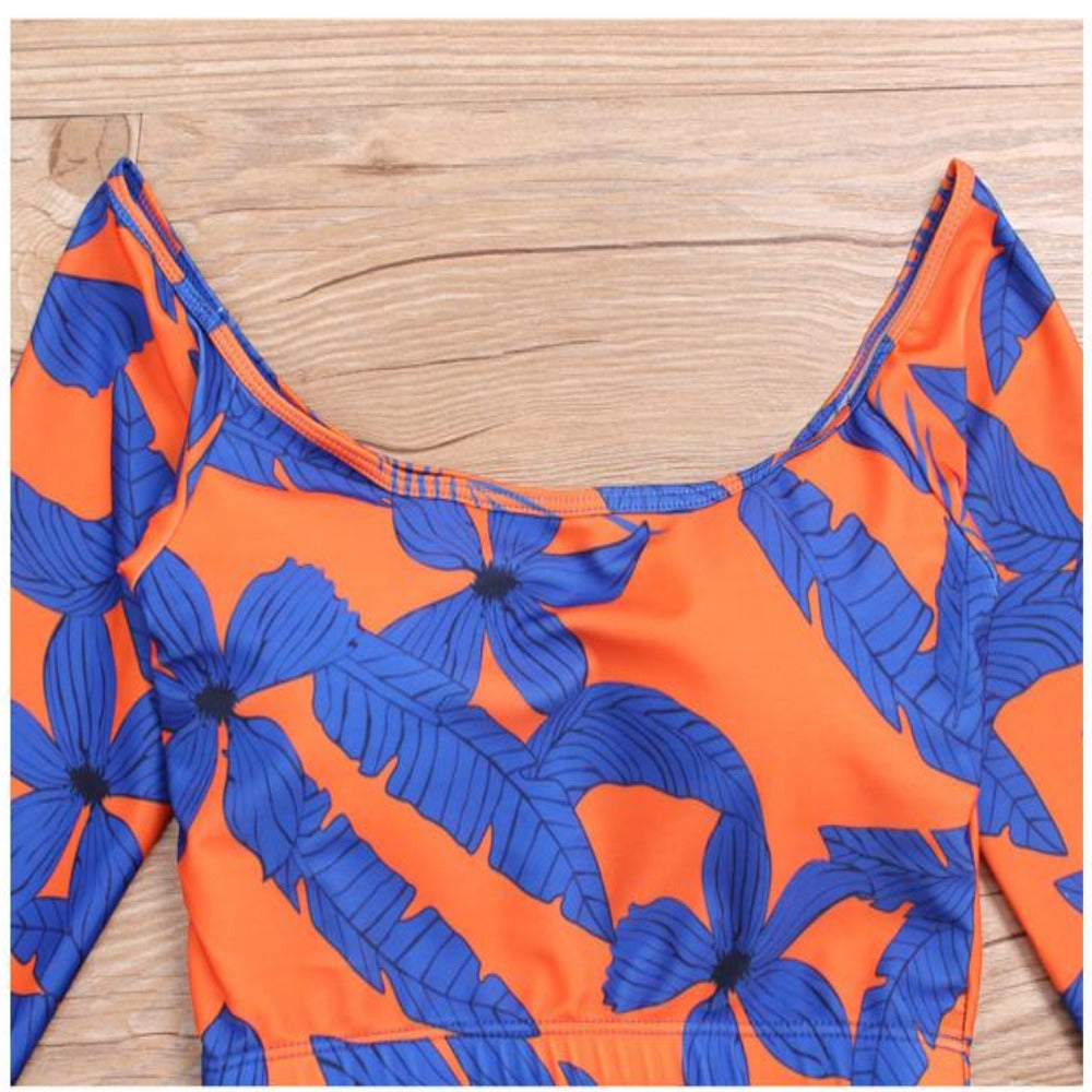 Women's African Print Tribal Swimwear-Ladies Swimwear-Product Details: Women's African Print Tribal Long Sleeve Swimwear Waist: Low Waist Support Type: Wire Free With Pad: Yes Pattern Type: Print Material: Polyester, Nylon, Spandex Item Type: Bikinis Set Style: Long Sleeve, Thong Bottom Color Style: Tribal Print, African Print Occasion: Beach, Party, Causal Daily, Sunbathing Color: Grey, Blue Size Chart:-Keyomi-Sook