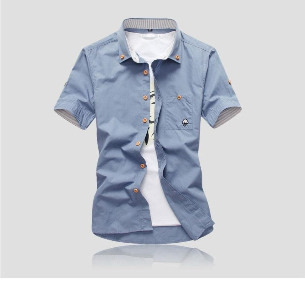 Men's Mushroom Stitching Casual Shirt-Men's Shirt-Product Details: Men's Mushroom Embroidery Short Sleeve Casual Cotton Shirt Item Type: Shirts Shirts Type: Casual Shirts Material: Polyester, Cotton Sleeve Length (cm): Short Collar: Turn-down Style: Casual Fabric Type: Broadcloth Fabric: Cotton, Polyester Size Chart:-Keyomi-Sook
