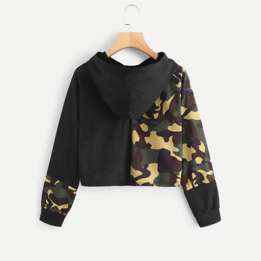 Women's Letter Camouflage Print Drawstring Sweatshirt-Sweaters & Sweatshirts-Product Details: Women's Letter Camouflage Print Drawstring Detail Crop Top Sweatshirt Item Type: Hoodies, Sweatshirts Material: Polyester Style: Casual Fabric Type: Broadcloth Sleeve Length (cm): Full Clothing Length: Short Type: Pullovers Sleeve Style: Regular Collar: Hooded Hooded: Yes Season: Fall Sleeve Length: Long Sleeve Color: Multicolor Decoration: Drawstring Length: Crop Pattern Type: Letter, Camouflage Size C