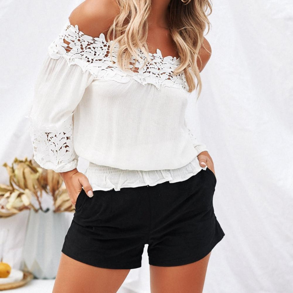 Women's White Off Shoulder Eyelet Lace Elastic Waist Blouse-Tops, Blouses, & Tees-Product Details: Women's Off The Shoulder Chiffon Blouse Spring Or Summer Loose Tops Ladies Casual Stretch Shirt Material: Chiffon, Lace Color: White Size Chart:-Keyomi-Sook