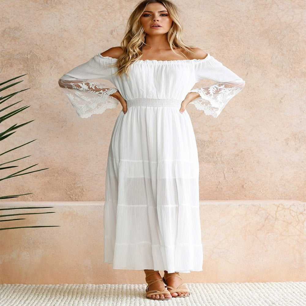 Women'S Off Shoulder Lace Boho Maxi Dress-Women - Apparel - Dresses - Maxi-Product Details: Women's Off Shoulder Sheer Lace Patchwork Boho Maxi Dress Pattern Type: Solid Waistline: Empire Sleeve Style: Off Shoulder Style: Bohemian Sleeve Length (cm): Full Silhouette: A-Line Material: Polyester Decoration: Lace Dresses Length: Ankle-Length Season: Summer Neckline: Slash Color: White Size Chart:-Keyomi-Sook