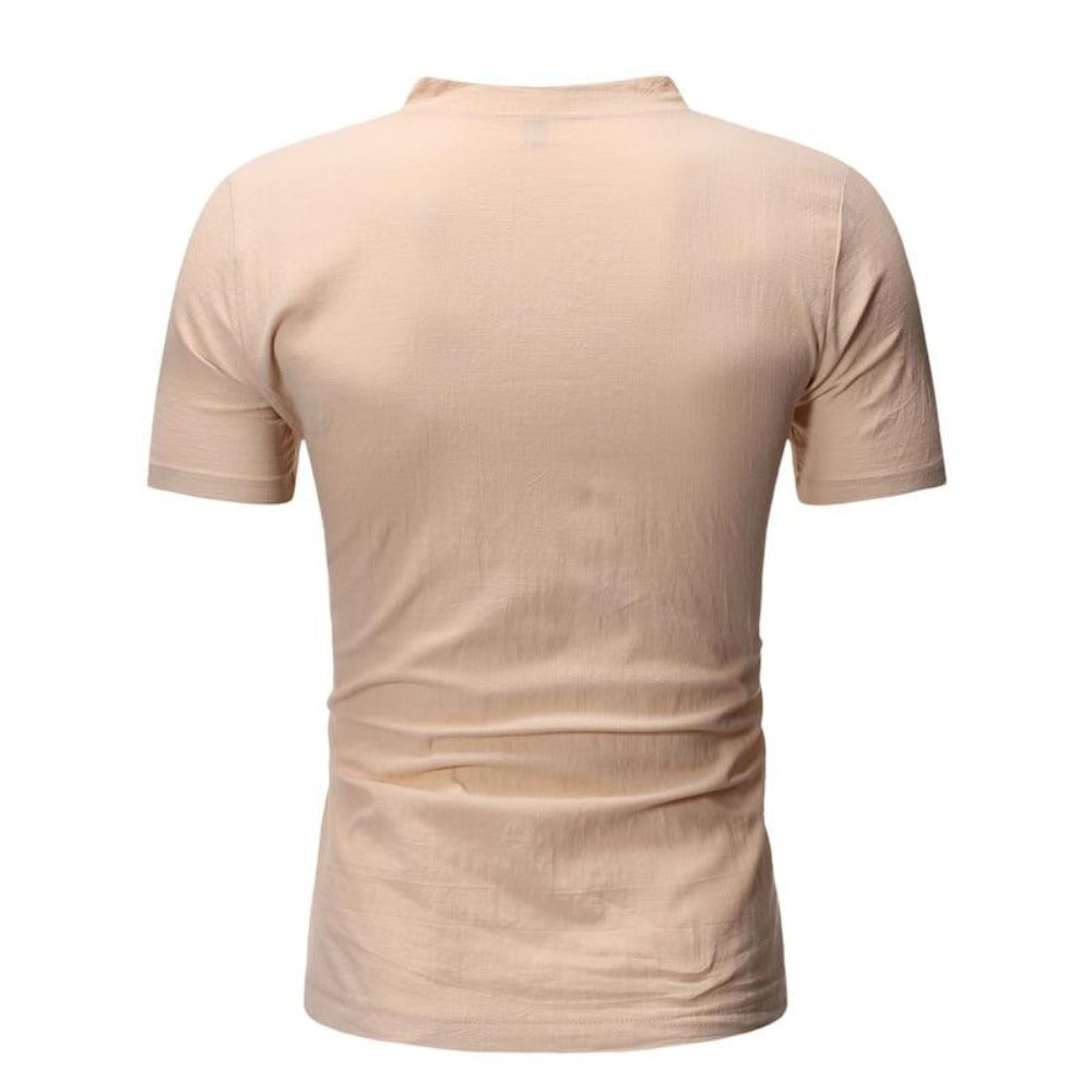 Men's Short Sleeve 2 Button Collarless Henley Shirt-Men's Shirt-Product Details: Men's Button Down Short Sleeve Slim Fit Henley Casual Dress Shirt Item Type: Shirts Shirts Type: Casual Shirts Material: Linen, Spandex Sleeve Length (cm): Short Collar: Mandarin Style :Casual Fabric Type: Broadcloth Sleeve Style: Regular Pattern Type: Solid Closure Type: Single Breasted Size Chart:-Keyomi-Sook