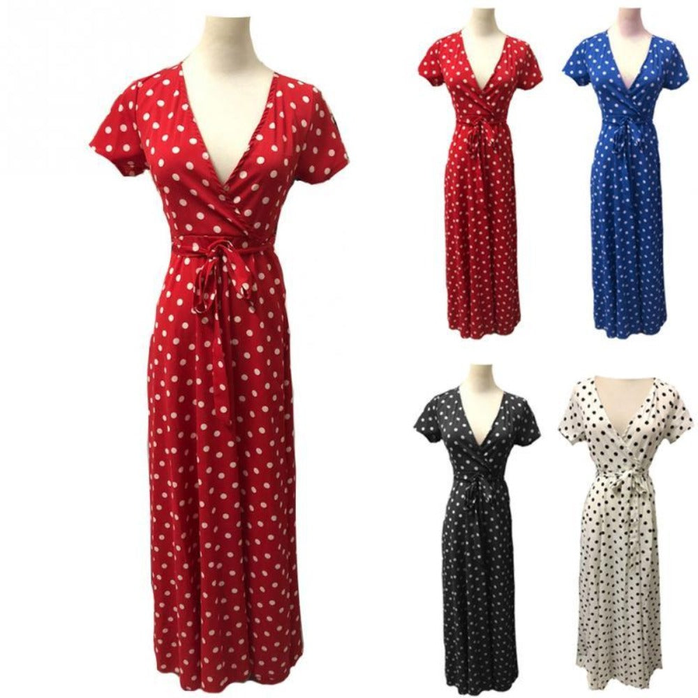 Women's Dot Evening Maxi Dress-Dresses-Product Details: Women's Red & White Dot Evening Maxi Dress Item name: Dress Style: Fashion Material: Polyester Pattern: Polka Dot Color: Black, White, Red, Navy Sleeve: Short Sleeve Collar: V-neck Size Chart:-Keyomi-Sook