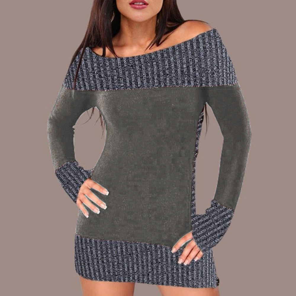 Women's Off Shoulder Button Knitted Sweater Dress-Ladies Sweater & Sweatshirt Dresses-Product Details: Women's Off Shoulder Buttons Knitted Winter Sweater Dress Material: Acrylic Material Composition: Polyester Style: Casual Technics: Computer Knitted Collar: Slash Neck Sleeve Length (cm): Full Clothing Length: Regular Item Type: Pullovers Sleeve Style: Regular Decoration: Button Pattern Type: Patchwork Thickness: Standard Size Chart:-Keyomi-Sook