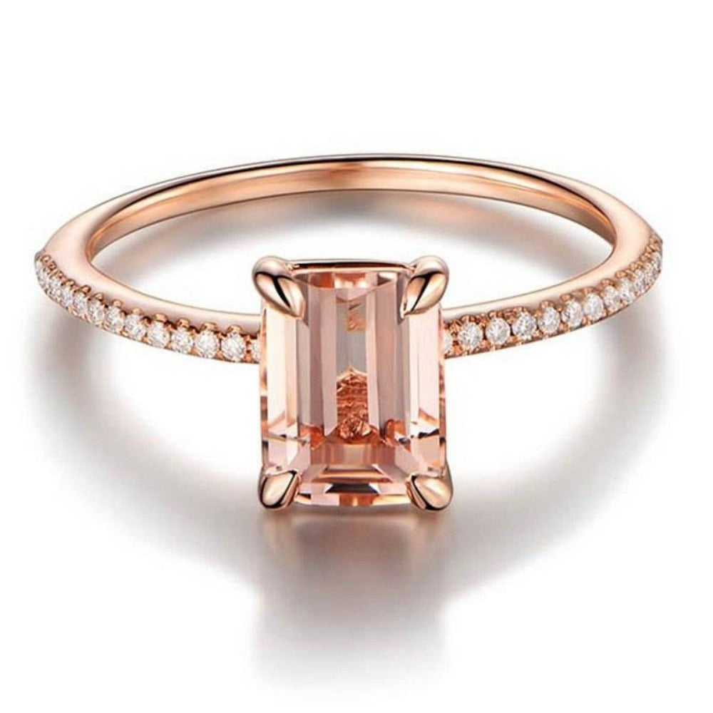 Women'S 2 Pc Rose Gold White Crystal Zircon Ring Set-Ladies Rings-Product Details: Women's 2 Pc Rose Gold White Crystal Zircon Engagement Ring Set Metals Type: Tin Alloy Material: Cubic Zirconia Occasion: Wedding Surface Width: 3 mm Size Chart:-Keyomi-Sook