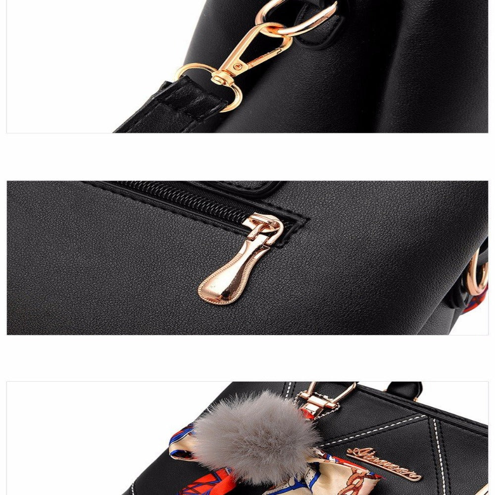 Women' Ribbon Bow Pom-Pom Leather Scarf Bag--Product Details: Women's Stylish Cross-body Leather Bag With Geometric Stitching. Lots Of Color Choices With Latest Designer Looks. Filigree Design Prints Scarfs Puffy Pom-Pom Accent. Item Type: Handbags Shape: Satchels Main Material: PU Handbags Type: Shoulder Bags Types of bags: Shoulder & Cross-body Bags Lining Material: Polyester Number of Handles/Straps: Single Decoration: Ribbons Style: Vintage Pattern Type: Geometric Closure Type: Zipper Hardne