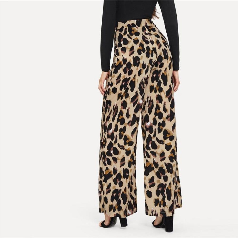 Women'S Multicolor Leopard Print Loose Pants-Women - Apparel - Pants - Trousers-Product Details: Women's Multicolor Leopard Print Wide Leg Mid Waist Loose Pants Size Chart:-Keyomi-Sook