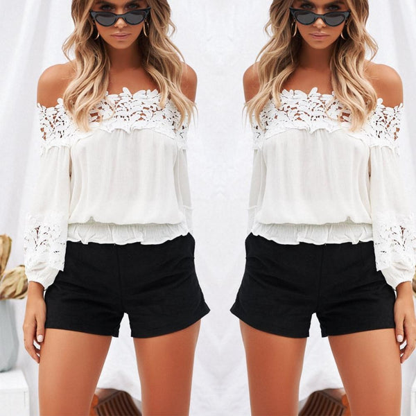 Women's White Off Shoulder Eyelet Lace Elastic Waist Blouse-Tops, Blouses, & Tees-S-Product Details: Women's Off The Shoulder Chiffon Blouse Spring Or Summer Loose Tops Ladies Casual Stretch Shirt Material: Chiffon, Lace Color: White Size Chart:-Keyomi-Sook