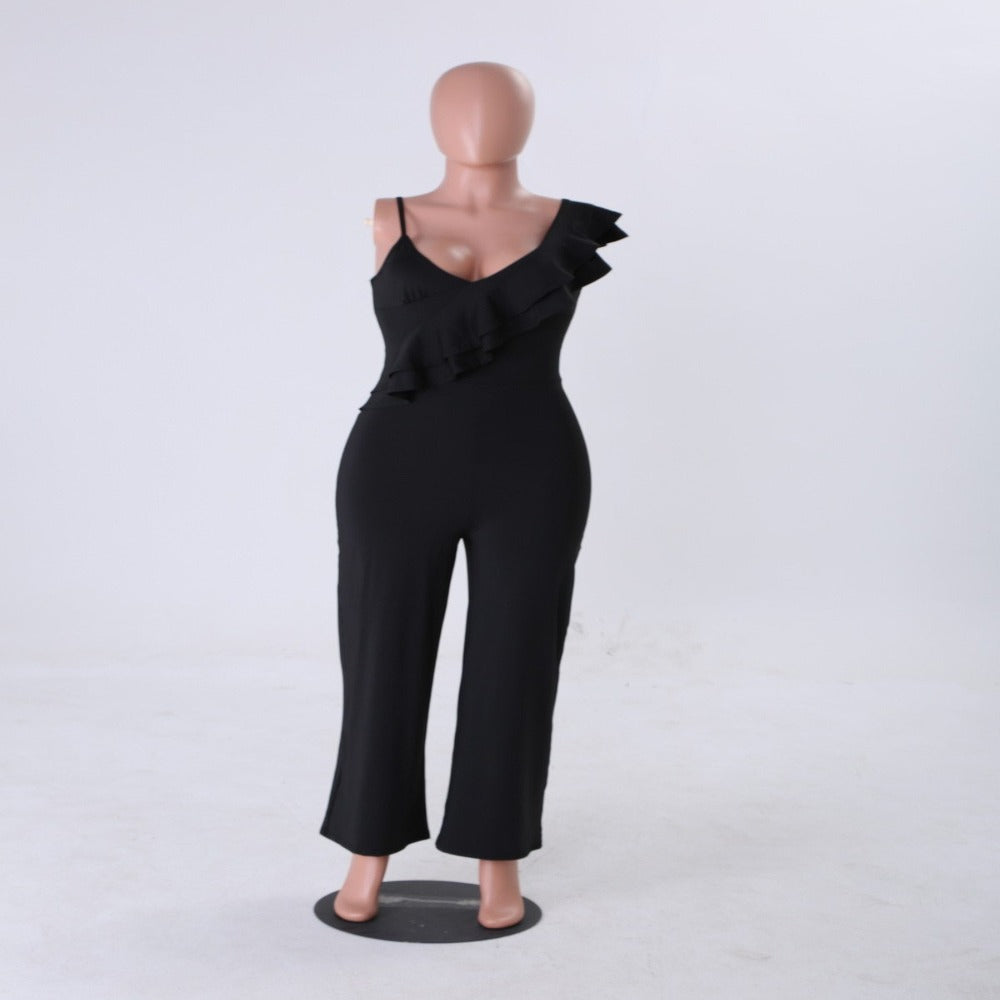Women's One Shoulder Ruffles & Wide Pants Jumpsuit-Rompers, Jumpers & Sets-Product Details: Women's V Neck One Shoulder Ruffles & Long Wide Leg Pants Jumpsuit Material: Cotton, Polyester Length: Full Length Style: Sexy & Club Fit Type: Loose Pattern Type: Solid Decoration: Ruffles Fabric Type: Broadcloth Size Chart:-Keyomi-Sook