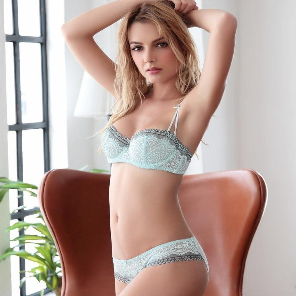 Women's Half Cup Lace Bra & Panty Set-Discrètes-Product Details: Women's Plus Size D Lace Ultra-Thin Half Cup Bra & Panty Set Item Type: Bra & Brief Sets Bra Style: One-Piece, Push Up, Plunge, Demi, Seamless Material: Modal, Linen, Lycra, Spandex, Bamboo Fiber, Cotton Cup Shape: Three Quarters (3/4 Cup) Strap Type: Adjusted-straps, Convertible Straps Support Type: Underwire Decoration: Lace Closure Type: Three Hook-and-eye, Back Closure Pattern Type: Solid Size Chart:-Keyomi-Sook