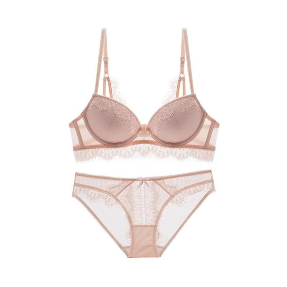 Women's Underwire Push Up Lace Bra With Panty Set-Discrètes-Beige-70A-Product Details: Women's Underwire Push Up Lace Padding Bra with Panty Set Item Type: Bra & Brief Sets Bra Style: Plunge, One-Piece, Seamless, Push Up, Unlined Material: Lycra, Spandex, Linen, Cotton, Rayon Cup Shape: Three Quarters (3/4 Cup) Strap Type: Adjusted-straps, Non-Convertible Straps Support Type: Underwire Decoration: Lace Closure Type: Tow Hook-and-eye, Back Closure Pattern Type: Solid-Keyomi-Sook