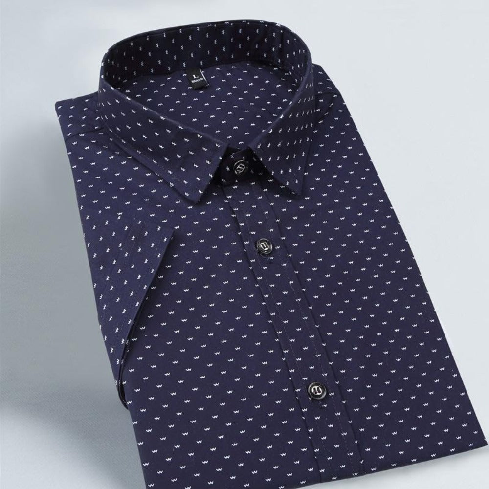 Men'S Polka Dot Short Sleeve Shirt M-5Xl-Men's Polos & Dress Shirts-Product Details: Men's Polka Dot Plus Size Short Sleeve Casual Shirt Item Type: Shirts Shirts Type: Casual Shirts Material: Cotton Sleeve Length (cm): Short Collar: Turn-down Style: Casual Fabric Type: Broadcloth Sleeve Style: Regular Pattern Type: Polka Dot Closure Type: Single Breasted Size Chart:-Keyomi-Sook