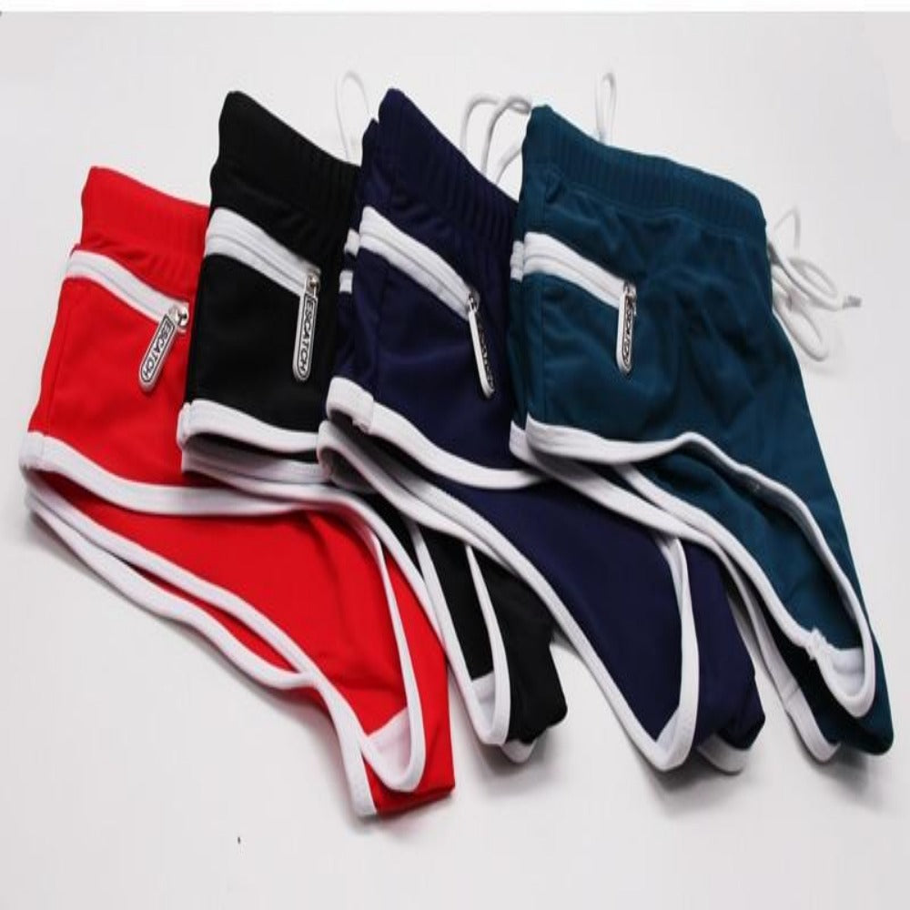 Men's Low Waist Trunks With Pockets-Men's Underwear-Product Details: Men's Low Waist Beachwear Swimming Trunks with Pockets Colors: Black, Navy Blue, Red, Green Size Chart:-Keyomi-Sook