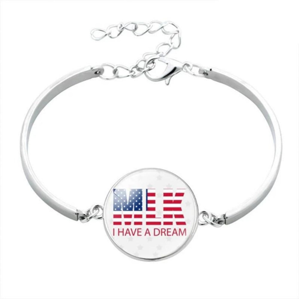 Men & Women's Black Lives Matter Charm Bracelet-Ladies Bracelets-BL5877H08-Product Details: Men & Women's Black Lives Matter Silver Charm Bangled Bracelet Dimensions:-Keyomi-Sook