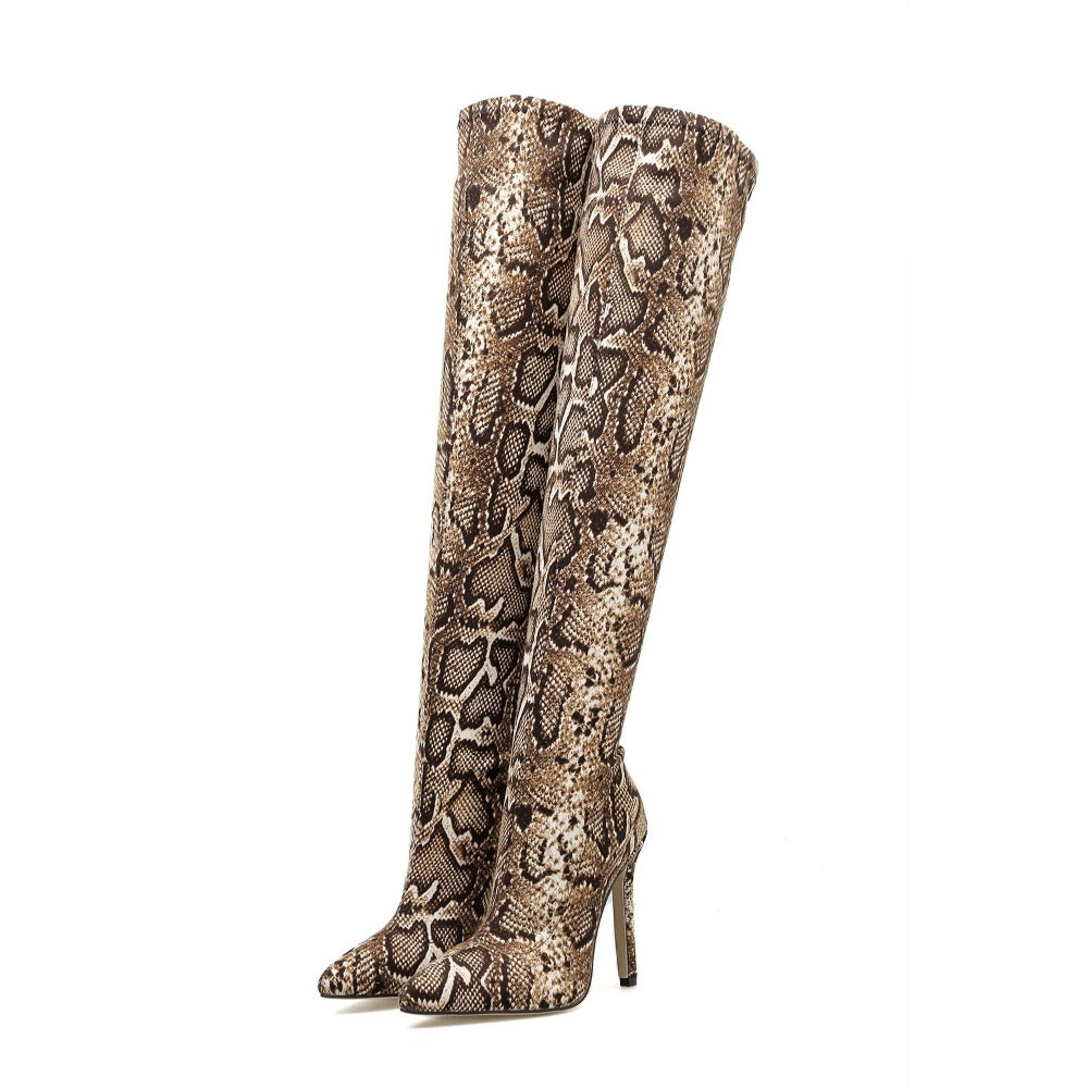 Women's Snake Stripes Over The Knee Boots-Women's Fashion - Women's Shoes - Women's Boots-Product Details: Women's Snake Stripes Over The Knee Thigh High Winter Boots Size Chart:-Keyomi-Sook