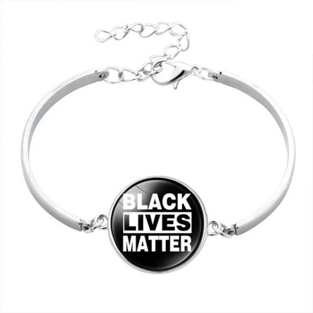 Men & Women's Black Lives Matter Charm Bracelet-Ladies Bracelets-BL5877H01-Product Details: Men & Women's Black Lives Matter Silver Charm Bangled Bracelet Dimensions:-Keyomi-Sook