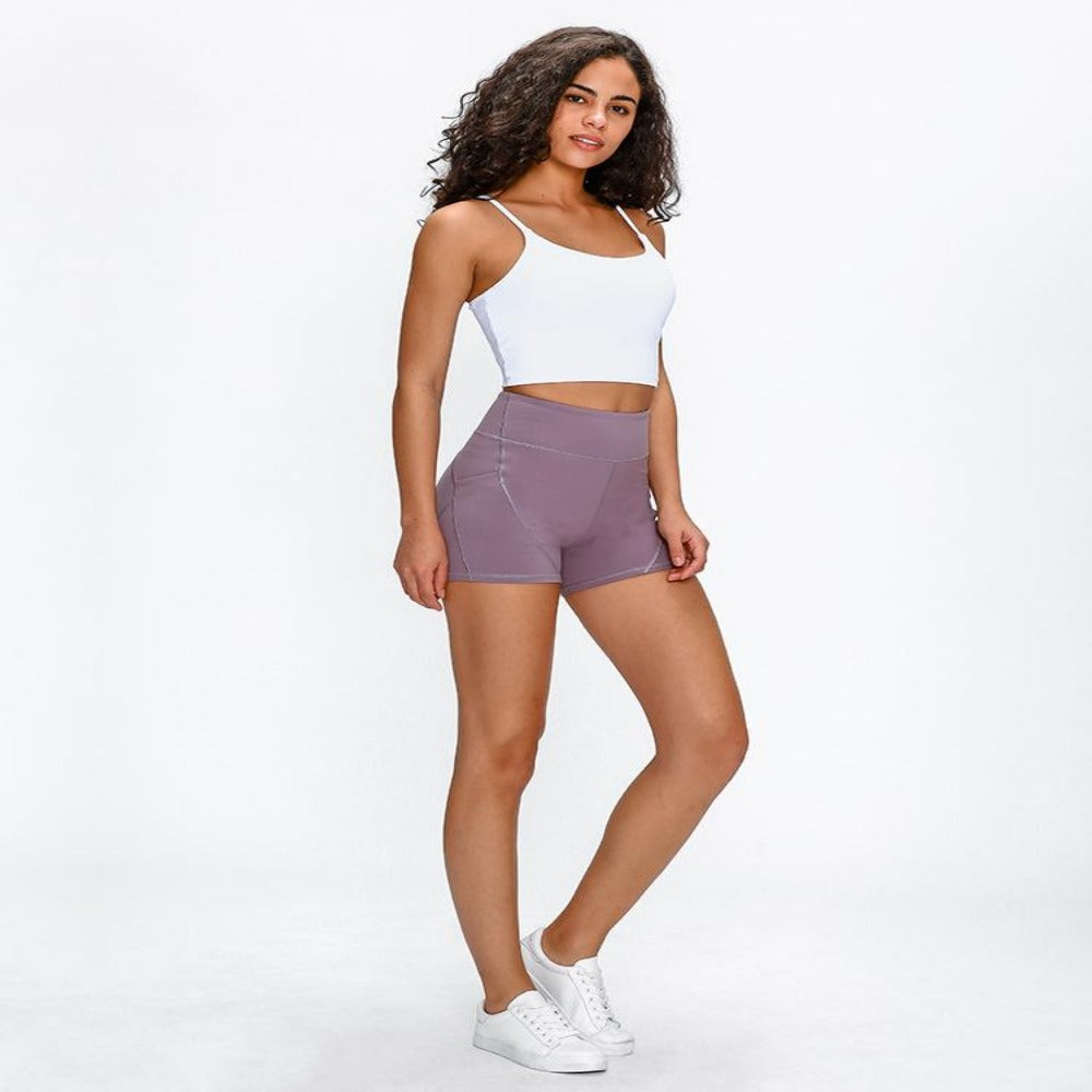 Women's Soft Cotton Anti-sweat Shorts-Athletic Wear-Brown-6-S-Product Details: Women's Soft Cotton High Waist Plain Anti-sweat Fitness Shorts Size Chart:-Keyomi-Sook