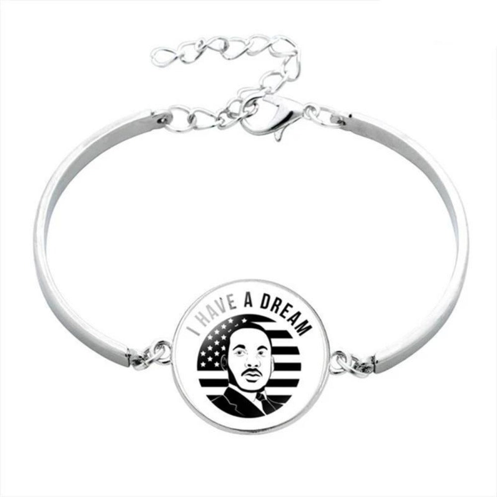 Men & Women's Black Lives Matter Charm Bracelet-Ladies Bracelets-BL5877H09-Product Details: Men & Women's Black Lives Matter Silver Charm Bangled Bracelet Dimensions:-Keyomi-Sook