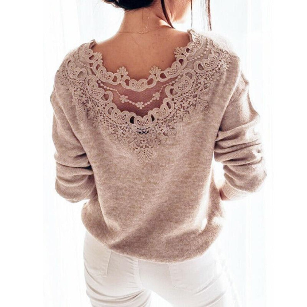Women'S Lace Backless Long Sleeve Knitted Sweaters-Sweaters & Sweatshirts-Product Details: Women's Lace Backless Long Sleeve Knitted Pullover Winter Sweaters Size Chart:-Keyomi-Sook