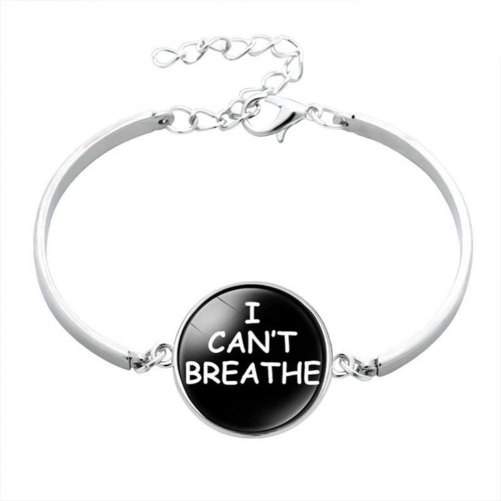 Men & Women's Black Lives Matter Charm Bracelet-Ladies Bracelets-BL5877H02-Product Details: Men & Women's Black Lives Matter Silver Charm Bangled Bracelet Dimensions:-Keyomi-Sook