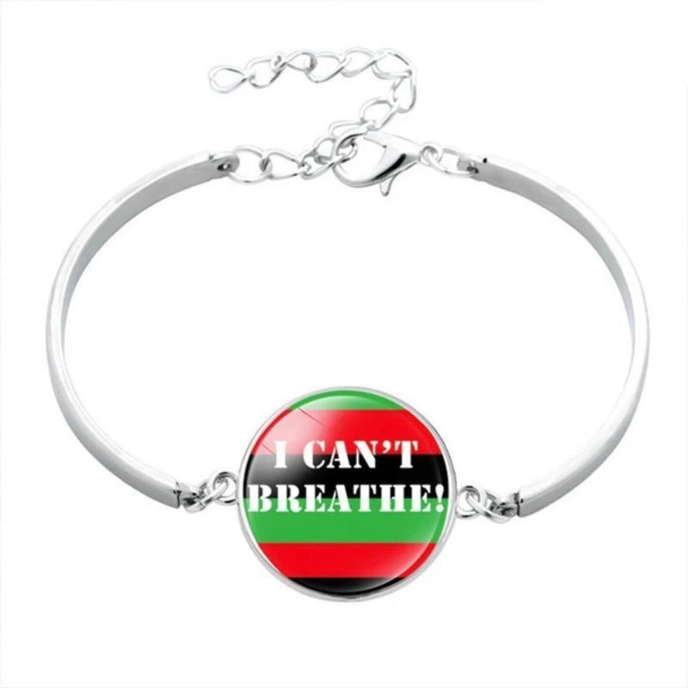 Men & Women's Black Lives Matter Charm Bracelet-Ladies Bracelets-BL5877H05-Product Details: Men & Women's Black Lives Matter Silver Charm Bangled Bracelet Dimensions:-Keyomi-Sook