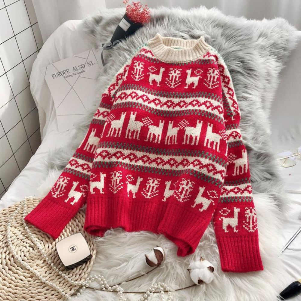 Women's O-Neck Wild Loose Christmas Sweater-Sweaters & Sweatshirts-Red-One Size-Product Details: Women's O-neck Full Warm Wild Pullover Loose Christmas Sweater Dimensions: Shoulder: 58 cm Bust: 107 cm Length: 53 cm Sleeve: 41 cm-Keyomi-Sook