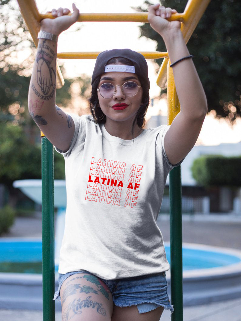 Multi-Colors Latina Af T-Shirt Funny Quote Fashion Street Style S-Xxxl-Red-white txt-S-Keyomi-Sook