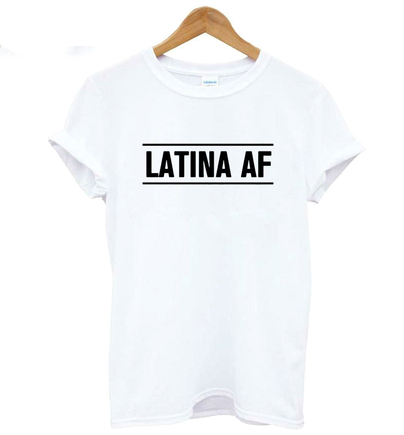 Latina Af Print Women Casual Funny T-Shirt Cotton-Black-XXS-Keyomi-Sook