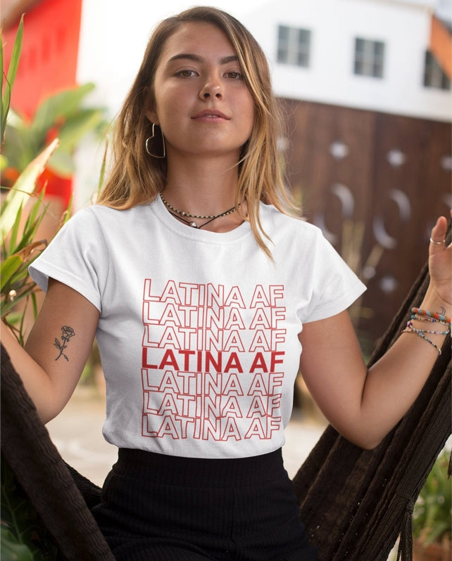 White Latina Af T-Shirt Latinas Pride For Latin Girls-White-S-Keyomi-Sook