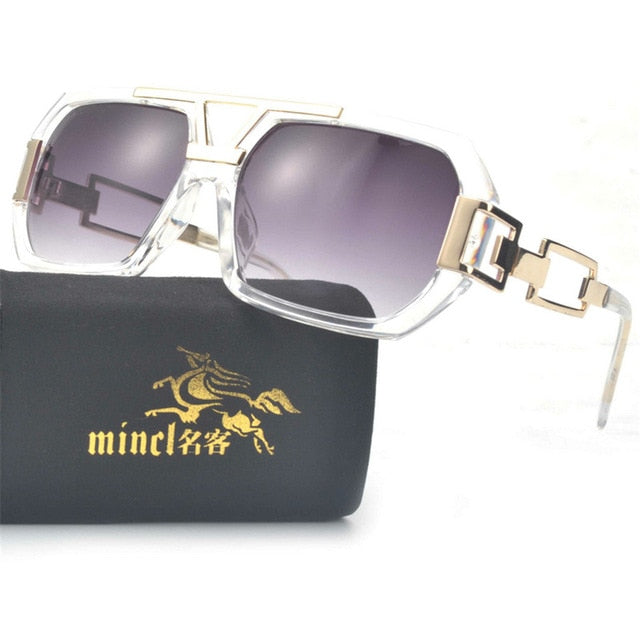 Unisex Oversized Boxed Shield Sunglasses-Men's Sunglasses-clear gray-Product Detail: Unisex Oversized Shield Visor Sunglasses Women Large Size Sunglasses Men Or Women Transparent Frame Vintage Big Windproof Retro Glasses Lenses Optical Attribute: UV400 Frame Material: Plastic Titanium Lenses Material: Polycarbonate-Keyomi-Sook