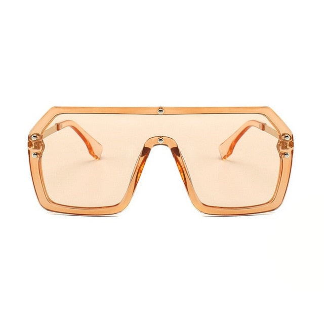Unisex Oversized Boxed Shield Sunglasses-Men's Sunglasses-tea 2-Product Detail: Unisex Oversized Shield Visor Sunglasses Women Large Size Sunglasses Men Or Women Transparent Frame Vintage Big Windproof Retro Glasses Lenses Optical Attribute: UV400 Frame Material: Plastic Titanium Lenses Material: Polycarbonate-Keyomi-Sook