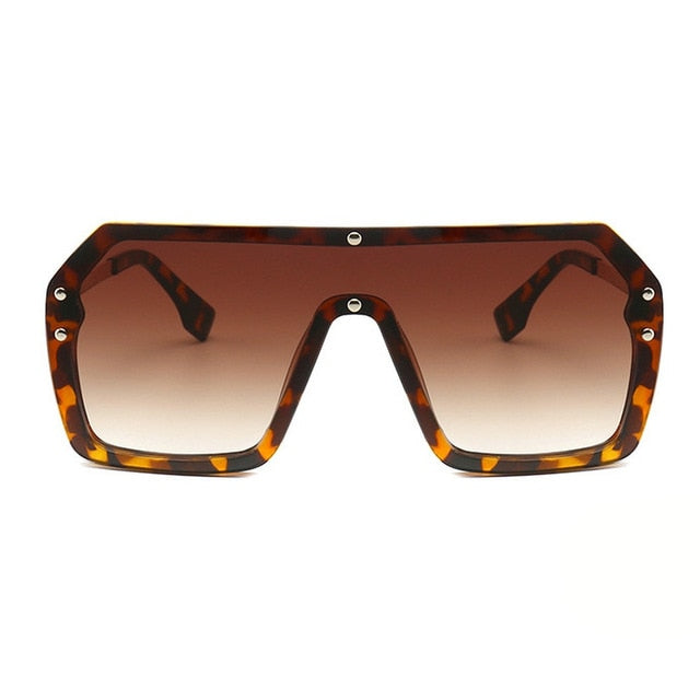 Unisex Oversized Boxed Shield Sunglasses-Men's Sunglasses-leopard tea 2-Product Detail: Unisex Oversized Shield Visor Sunglasses Women Large Size Sunglasses Men Or Women Transparent Frame Vintage Big Windproof Retro Glasses Lenses Optical Attribute: UV400 Frame Material: Plastic Titanium Lenses Material: Polycarbonate-Keyomi-Sook