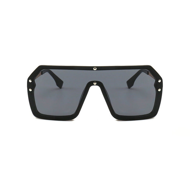 Unisex Oversized Boxed Shield Sunglasses-Men's Sunglasses-black 2-Product Detail: Unisex Oversized Shield Visor Sunglasses Women Large Size Sunglasses Men Or Women Transparent Frame Vintage Big Windproof Retro Glasses Lenses Optical Attribute: UV400 Frame Material: Plastic Titanium Lenses Material: Polycarbonate-Keyomi-Sook