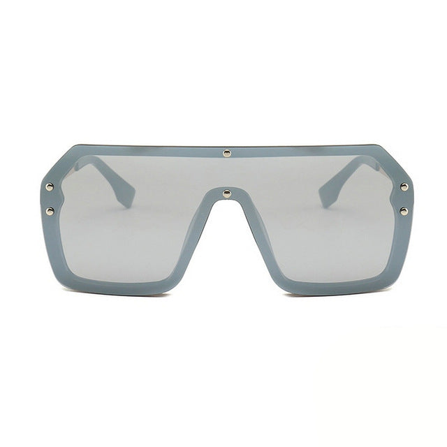 Unisex Oversized Boxed Shield Sunglasses-Men's Sunglasses-silver 2-Product Detail: Unisex Oversized Shield Visor Sunglasses Women Large Size Sunglasses Men Or Women Transparent Frame Vintage Big Windproof Retro Glasses Lenses Optical Attribute: UV400 Frame Material: Plastic Titanium Lenses Material: Polycarbonate-Keyomi-Sook