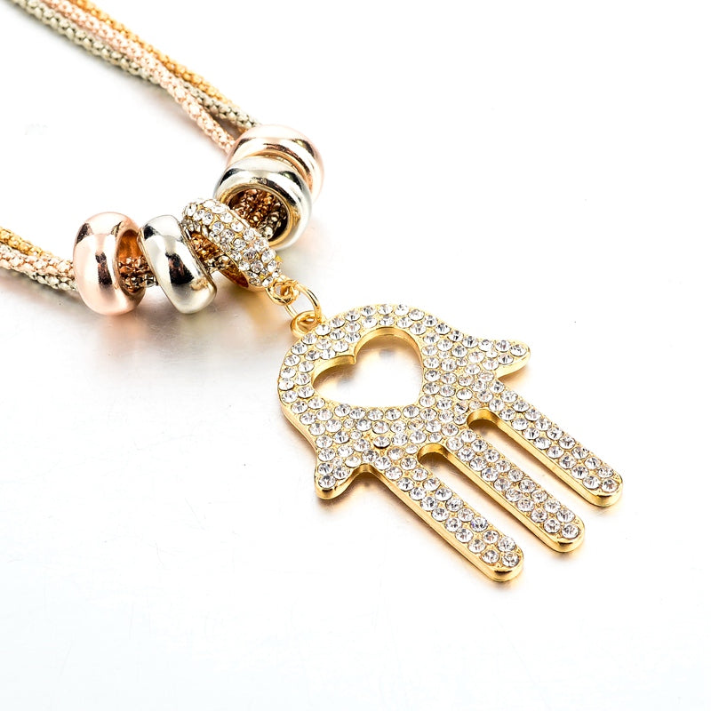 Mesopotamian Fatima Hamsa Palm Shaped Antique Two Tone Gold Pendant Necklace-Women - Jewelry - Necklaces-gold-Keyomi-Sook