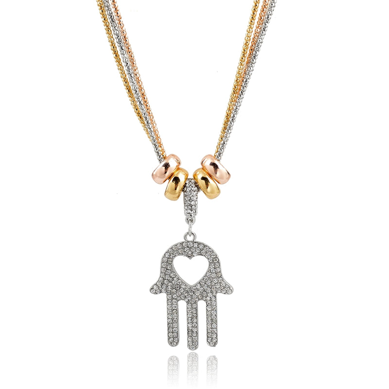 Mesopotamian Fatima Hamsa Palm Shaped Antique Two Tone Gold Pendant Necklace-Women - Jewelry - Necklaces-silver-Keyomi-Sook