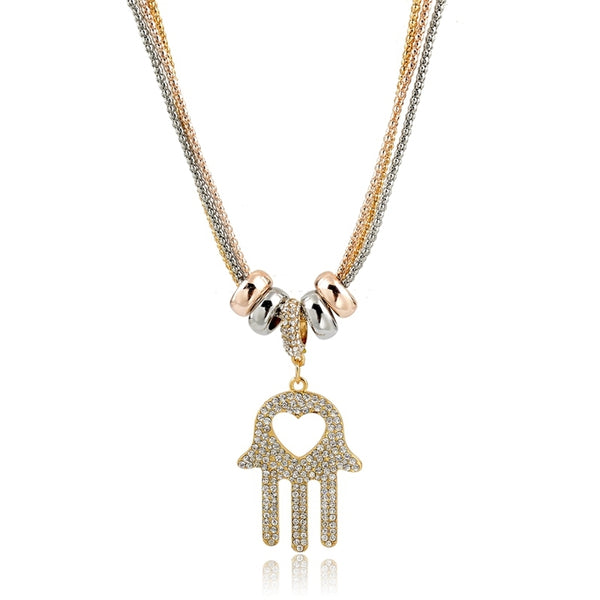 Mesopotamian Fatima Hamsa Palm Shaped Antique Two Tone Gold Pendant Necklace-Women - Jewelry - Necklaces-gold-Gold Plated Cubic Zirconia Look absolutely Stunning In This Vintage North African Hand-Of-All Goddesses Gold Crystal Necklace Beautifully Designed Pendant Necklaces 76cm Product Details Metals Type: 18K Gold Filled Cubic Zirconia Necklace Type: Pendant Necklaces Chain Type: Link Chain Necklaces Multi-layer Necklaces Material: Crystal Necklace Length: 76cm Shape\pattern: Geometric Palm Sh