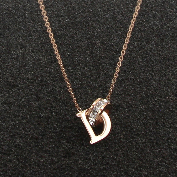 Letter D Initial & Crystal Interlocking Rose Gold Necklace-Ladies Necklaces-Product Detail: D Letter And Crystal Annulus Interlocking Rose Gold Pendant Necklace 316 Stainless Steel High Polished Necklace-Keyomi-Sook