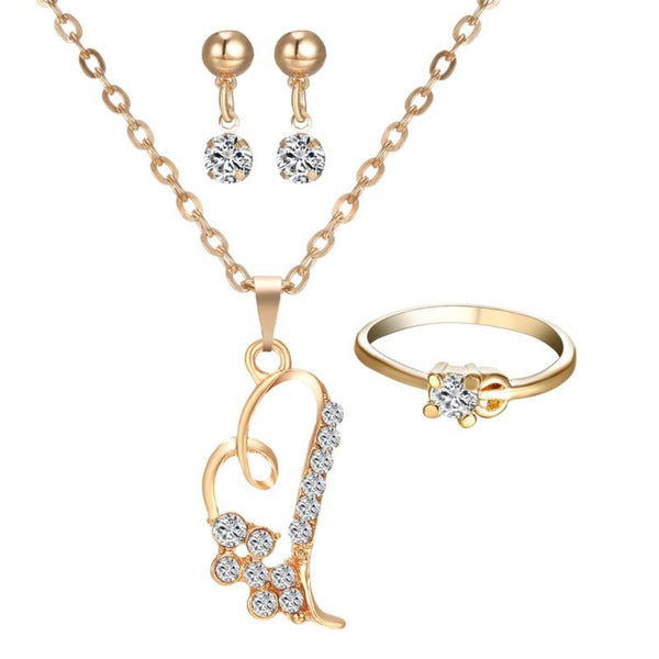 Women's Heart Pendant Jewelry Set-Jewelry Sets-Product Detail: Women's Romantic Heart Pendant Jewelry Set Weight: 12 g Dimension: Pendant Size: 2.1 * 1.8 cm Necklace Length: 42 cm Ring Diameter: 2 cm Earring Size:1.5 * 0.5 cm-Keyomi-Sook